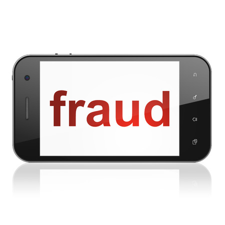 Security concept: smartphone with text Fraud on display. Mobile smart phone isolated on white, cell phone 3d render photo