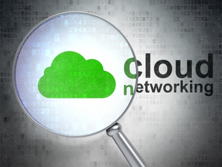 Cloud computing concept: magnifying optical glass with Cloud icon and Cloud Networking word on digital background, 3d render photo