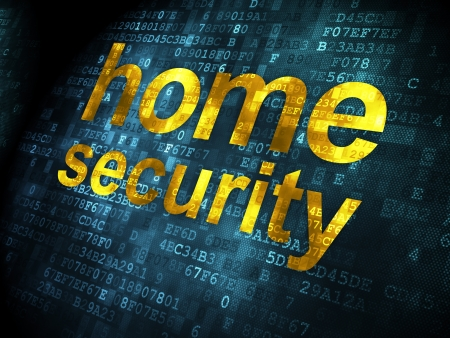 Safety concept: pixelated words Home Security on digital , 3d render photo