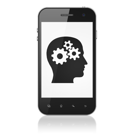 Advertising concept: smartphone with Head With Gears icon on display. Mobile smart phone isolated on white , cell phone 3d render photo