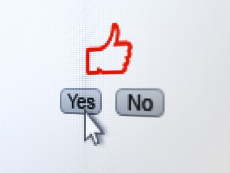 Social network concept: buttons yes and no with pixelated Like icon and Arrow cursor on digital computer screen, selected focus 3d render Stock Photo - 22571272