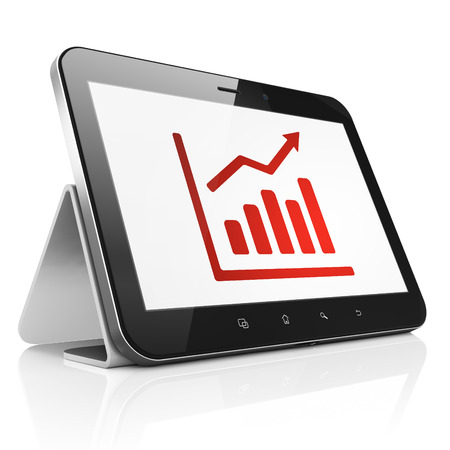 News concept: black tablet pc computer with Growth Graph icon on display. Modern portable touch pad isolated on white , 3d render photo