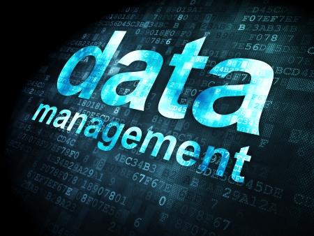 Data concept: pixelated words Data Management on digital , 3d render photo