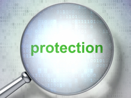 Protection concept: magnifying optical glass with words Protection on digital background, 3d render photo