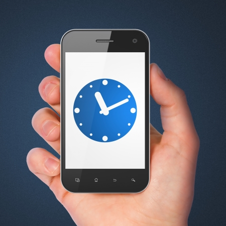 Timeline concept: hand holding smartphone with Clock on display. Mobile smart phone in hand on isolated on blue , 3d render photo