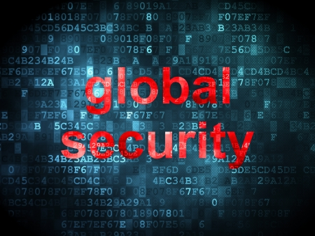Security concept: pixelated words Global Security on digital background, 3d render photo