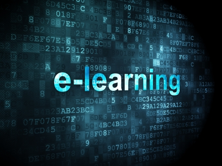 elearn: Education concept: pixelated words E-learning on digital , 3d render