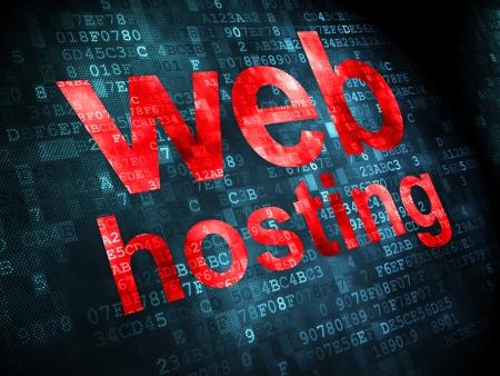 SEO web design concept: pixelated words Web Hosting on digital , 3d render Stock Photo - 22571355