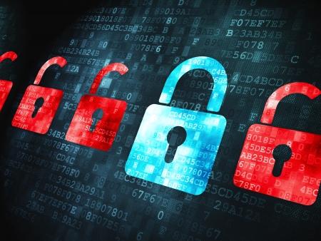 Sicherheitskonzept: verpixelt Schlösser Symbol auf digital, 3d render