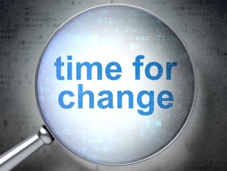 Timeline concept: magnifying optical glass with words Time for Change on digital , 3d render