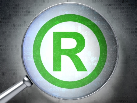 r regulation: Law concept: magnifying optical glass with Registered icon on digital , 3d render