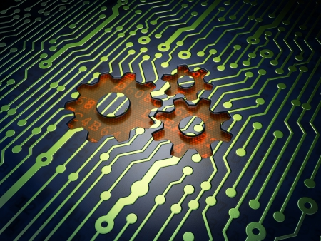 Marketing concept: circuit board with Gears icon, 3d render photo