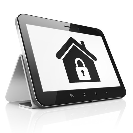 Security concept: black tablet pc computer with Home icon on display. Modern portable touch pad isolated on White , 3d render photo