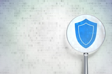 Safety concept: magnifying optical glass with Shield icon on digital , empty copyspace for card, text, advertising, 3d render