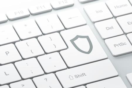 contoured: Concepto de seguridad: bot�n de entrar con escudo contorneado en el teclado del ordenador, 3d, de enfoque seleccionada