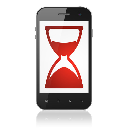 Timeline concept: smartphone with Hourglass icon on display. Mobile smart phone isolated on White , cell phone 3d render photo