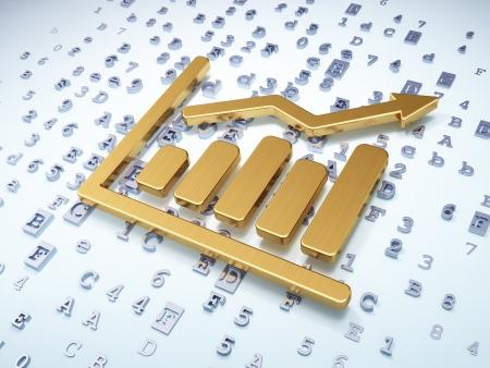 tabloid: News concept: Golden Growth Graph on digital , 3d render