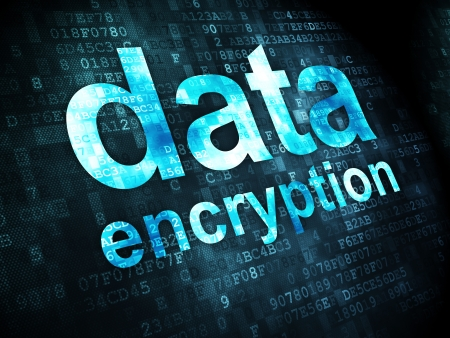 Protection concept: pixelated words Data Encryption on digital , 3d render