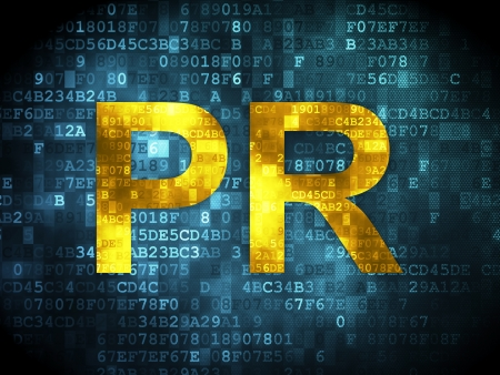 pr: Marketing concept: pixelated words PR on digital , 3d render