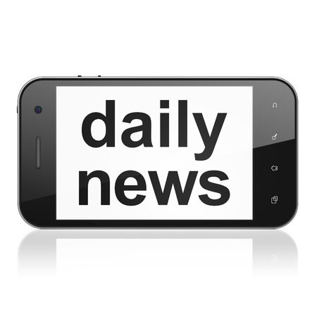 News concept: smartphone with text Daily News on display. Mobile smart phone isolated on White , cell phone 3d render photo