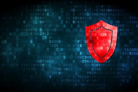 Concepto de protecci�n: Icono pixelado escudo sobre fondo digital, copyspace vac�o para la tarjeta, texto, publicidad, 3d