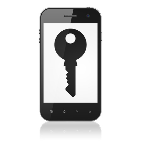 Protection concept: smartphone with Key icon on display. Mobile smart phone isolated on White , cell phone 3d render photo