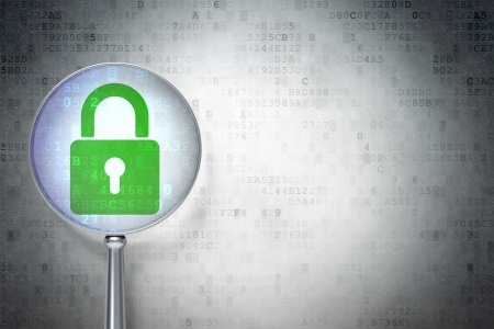Confidentialité concept: la loupe optique avec cadenas fermé sur fond numérique, atelier vide pour la carte, le texte, la publicité, rendu 3d