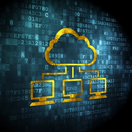 Cloud technology concept: pixelated Cloud Network icon on digital , 3d render Stock Photo - 22571799
