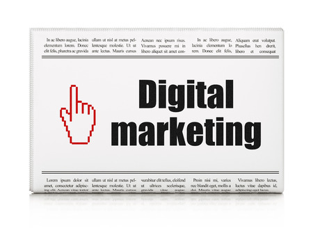 Advertising news concept: newspaper headline Digital Marketing and Mouse Cursor icon isolated on White , 3d render photo