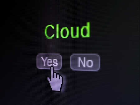 no cloud: Cloud networking concept: buttons yes and no with pixelated word Cloud and Hand cursor on digital computer screen, selected focus 3d render