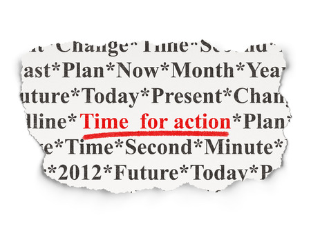 Timeline concept: torn newspaper with words Time for Action on Paper , 3d render photo