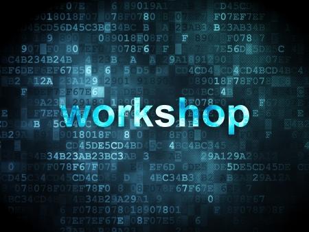 Education concept: pixelated words Workshop on digital , 3d render photo
