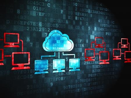Couverture réseau Concept: icône de la technologie Cloud pixélisé sur fond numérique, rendu 3d