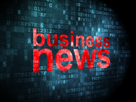 News concept: pixelated words Business News on digital background, 3d render photo