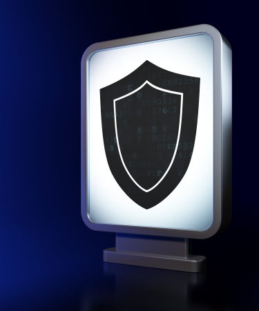 Privacy concept: Shield on advertising billboard , 3d render Stock Photo