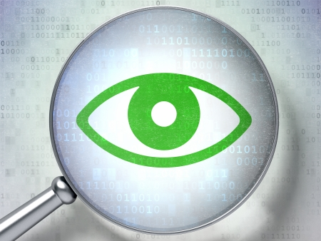Protection concept: magnifying optical glass with Eye icon on digital background, 3d render photo