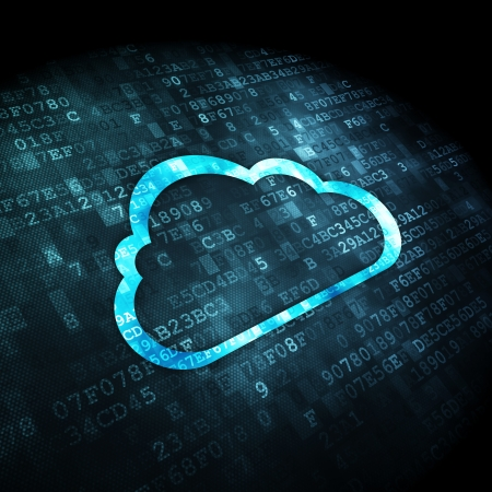 Cloud computing concept: icône de nuage pixélisé sur fond numérique, rendu 3d