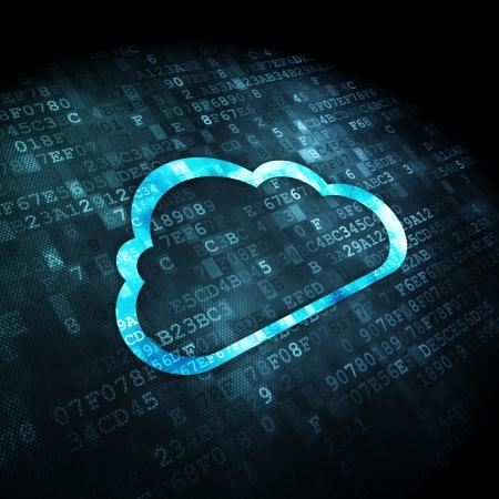 Cloud Computing-Konzept: pixelig Wolke Symbol auf digitale Hintergrund, 3d render Lizenzfreie Bilder