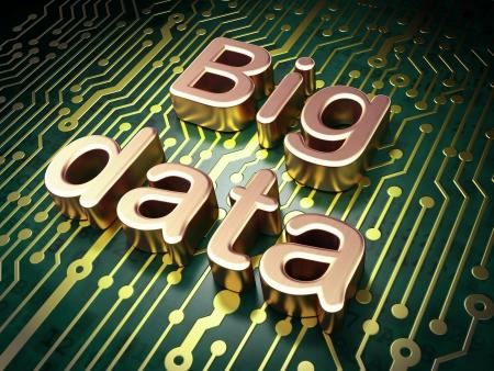 Concepto de la Informaci�n: placa de circuito con la palabra Big Data, 3d Foto de archivo