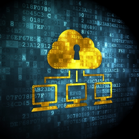 Cloud technology concept: pixelated Cloud Network icon on digital background, 3d render