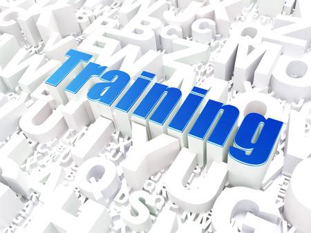 studing: Education concept: Training on alphabet  background, 3d render