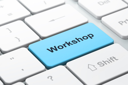expertise concept: Education concept: computer keyboard with word Workshop, selected focus on enter button, 3d render