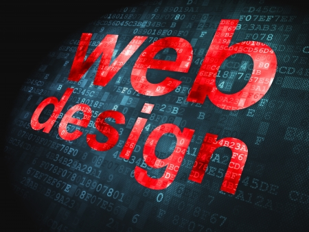 SEO web development concept: pixelated words Web Design on digital background, 3d render Stock Photo - 22572084