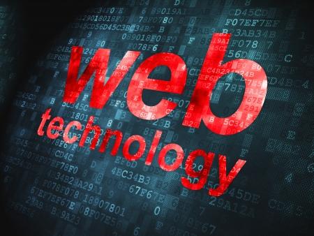 SEO web design concept: pixelated words Web Technology on digital , 3d render Stock Photo - 22572102
