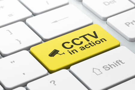 Protection concept: computer keyboard with Cctv Camera icon and word CCTV In action, selected focus on enter button, 3d render photo