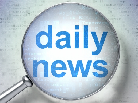 News concept: magnifying optical glass with words Daily News on digital background, 3d render photo