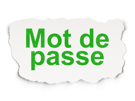 mot: Safety concept: torn paper with words Mot de Passe(french) on Paper background, 3d render