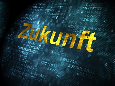 Time concept: pixelated words Zukunft(german) on digital background, 3d render photo