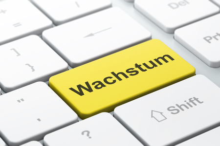Business concept: computer keyboard with word Wachstum(german), selected focus on enter button background, 3d render photo