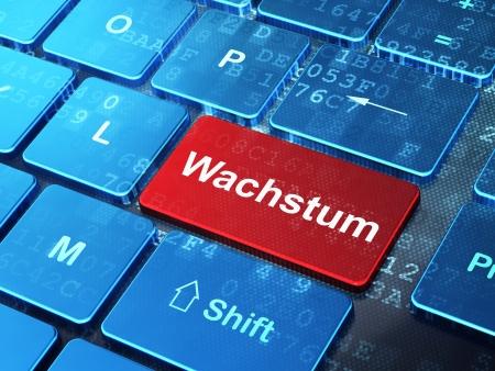 Finance concept: computer keyboard with word Wachstum(german) on enter button background, 3d render photo